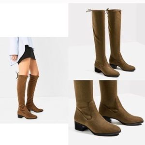 ZARA KHAKI KNEE HIGH BOOTS - BRAND NEW